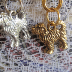 Mobius, Dog Lover Earrings, Gold & Silver tone Pewter, Spoodle/Labradoodle