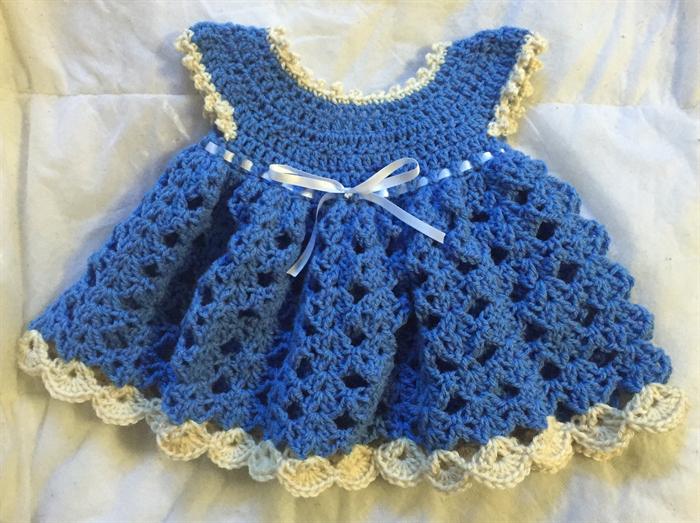 Newborn Dress Crochet Dress Blue Baby Dress 0 3 Months Snuggle