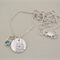 Sterling Silver & Mid Blue Topaz, Daisy Token Pendant.