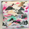 "Cushion cover Handmade using Laura Blythman ""In the Clouds"" fabric; pink and gre"
