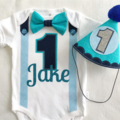 1st Birthday Boys Personalized Bow Tie, Suspenders, Name & Number 1 Onesie