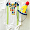 baby Boys Monster Theme 1st Birthday Onesie and Party Hat.