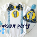 Dinosaur Theme Onesie and Party Hat 1st Birthday Boys Outfit