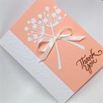 Thank You Card - White Chloe stems on Peach