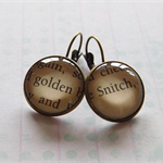 Harry Potter jewellery- Golden Snitch- glass dome earrings