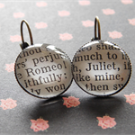 Shakespeare jewellery- Romeo and Juliet- Literary glass dome earrings