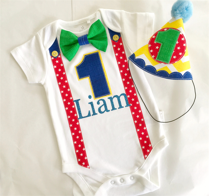 Circus Theme Primary Colors Baby Boys First Birthday Party Hat Onesie