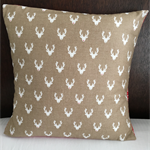 Christmas Cushion Cover, white reindeer with cute red nose on taupe/caramel back