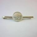 Handmade Fine Silver Coin Tie Bar Slide ~ USA Buffalo 1/10th oz Coin