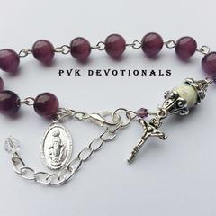 One Decade Rosary Bracelet - Purple Glass Cats eye Beads