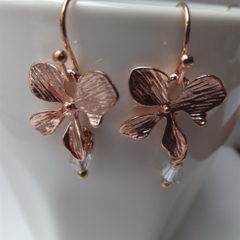 Rose Gold Flowers with Swarovski Raindrops - on nickel free ball end hooks