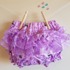 """Frozen"" fancy pants. Purple Anna and Oloff print with organza ruffles"