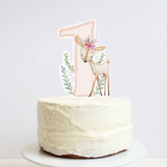 First Birthday Cake Topper - Woodland Deer with pretty flower crown. Fawn.