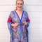 Plus Size Purple Silk Kaftan Beach Cover Up Poncho