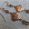 Rose Gold Zamac Filigree Pendant Earrings with Czech glass on rose gold hook