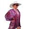 Plus Size Silk Kaftan Beach Cover Up Poncho Stylish Resort Wear Vintage Paisley