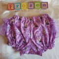 """""""Frozen"""" fancy pants. Purple Anna and Oloff print with organza ruffles"""