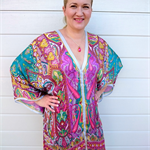 Plus Size Silk Kaftan Beach Cover Up Poncho Stylish Resort Wear  Paisley Print