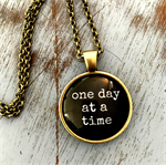 one day at a time | quote necklace | give or keep | INS004black