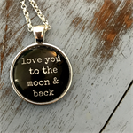 love you to moon & back | quote necklace | inspiration | INS011black
