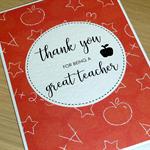 Teacher Thank you card - thank you for being a great teacher
