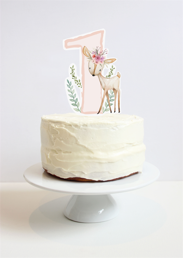 First Birthday Cake Topper Woodland Deer With Pretty Flower Crown