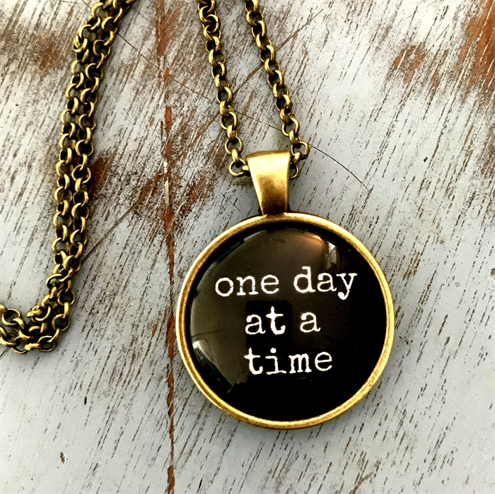 One Day At A Time Inspirational Quote Necklace Skuins004black