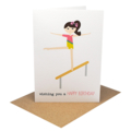 Girl Birthday Card, Gymnastics Card, Gym Girl on Beam, HBC210