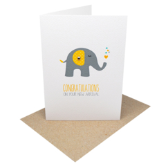 New Baby Card - Grey and Yellow Elephant with Green and yellow hearts - BBY005