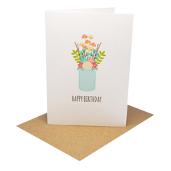 Birthday Card Female - Flowers in Mason Jar - HBF163