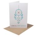 Women's Birthday Card, Turquoise Dreamcatcher Card, HBF139
