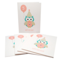 Birthday Girl Card - Any Age 1 2 3 4 5 6 etc Owl with Birthday No. Pink Balloon
