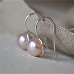 Sterling Silver & Pink Freshwater Pearl Cupped earrings (9mm size)
