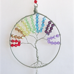 Chakra tree of life, silver Sun catcher