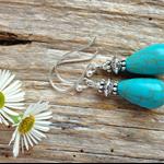 Turquoise Gemstone & Tibetan Bead Earrings