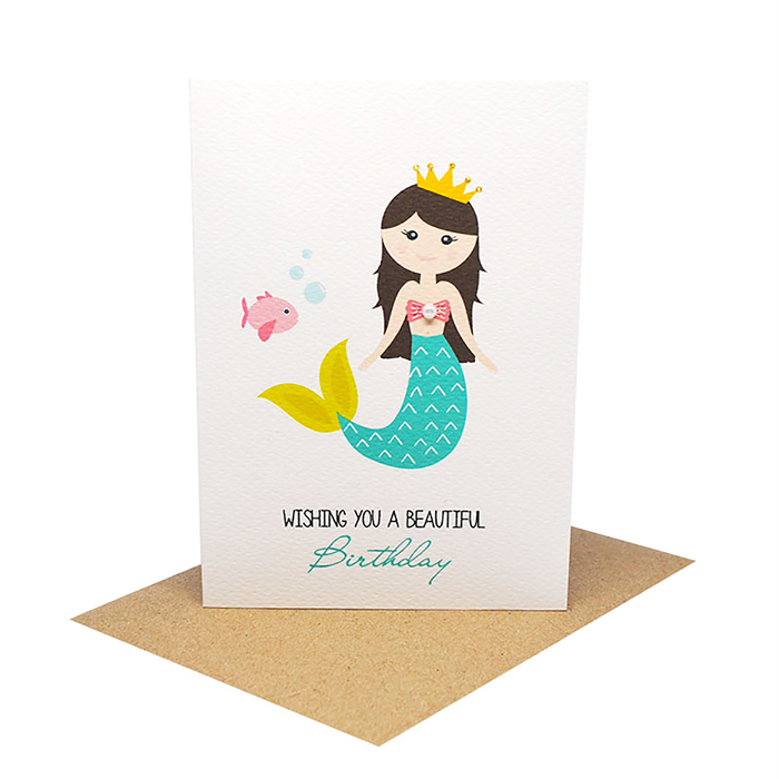 Birthday Card Girl Mermaid With Fish Hbc208 Mum And Me