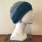 Peacock Teal and Grey Crochet Slouchie Beanie - Unisex - Acrylic - Soft - Vegan