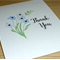 Thank you card - blue watercolour flowers