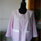 Pink/white striped shirt-jacket with white trim