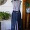 Stripe trim denim maxi skirt