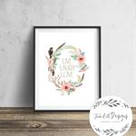 Live Laugh Laugh - Floral Wreath - Wall Art Print
