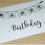 Happy Birthday card - blue bunting
