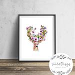 Floral Deer - Wall Art Print