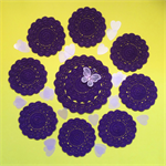 'Royal Purple' Cotton Doily and Eight Matching Coasters