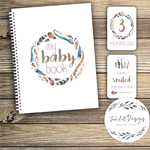 GIFT SET: Baby Record Book & Milestone Cards -  Unisex - Boho Feather