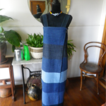 Multi-denim panelled wrap maxi dress