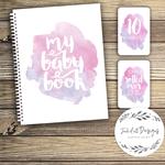 GIFT SET: Baby Record Book & Milestone Cards -  Watercolour Splashes - Girl