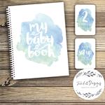 GIFT SET: Baby Record Book & Milestone Cards -  Watercolour Splashes - Boy