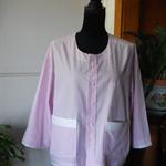 Pink/white striped shirt-jacket with white trim