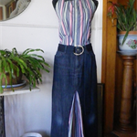 Stripe trim denim maxi skirt
